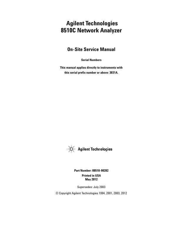 8510C Network Analyzer On-Site Service Manual | Keysight
