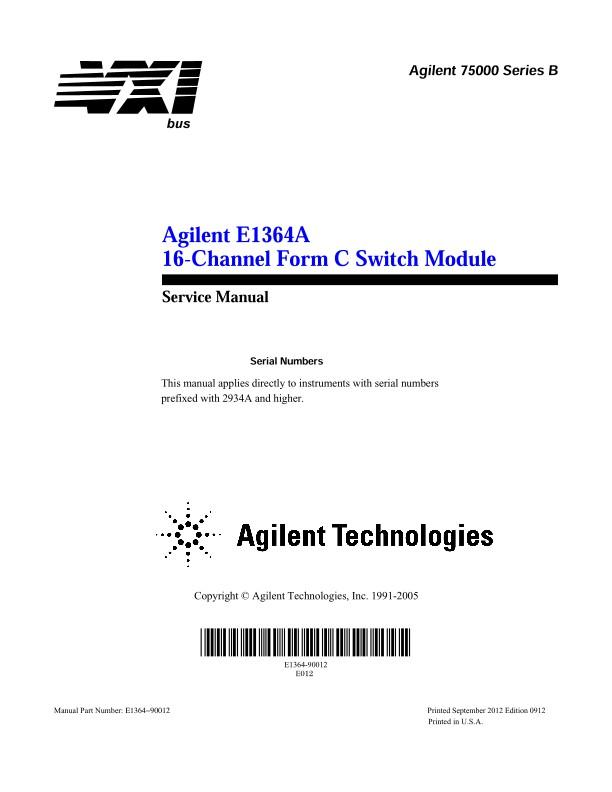 E1364A 16-Channel Form C Switch Module - Service Manual | Keysight