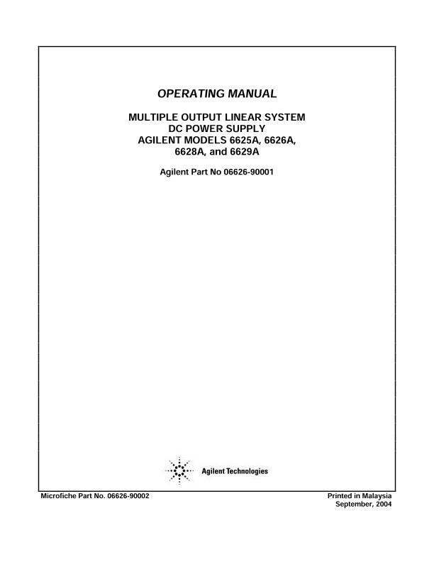 6625A/6626A/6628A/6629A Operating Manual   Keysight