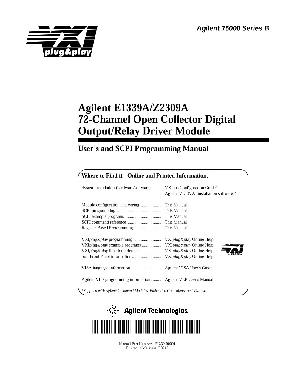 E1339A/Z2309A 72-Channel Open Collector Digital Output/Relay ...