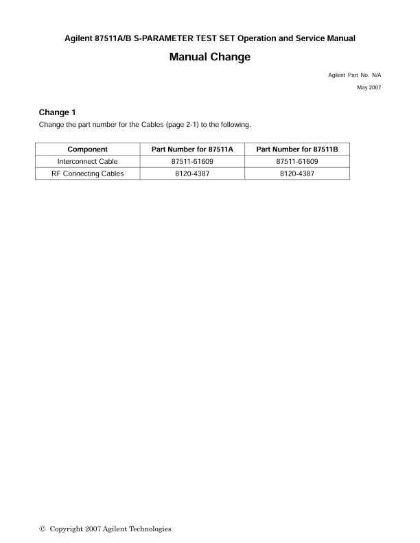 87511A/B S-PARAMETER TEST SET Operaion and Service Manual   Keysight