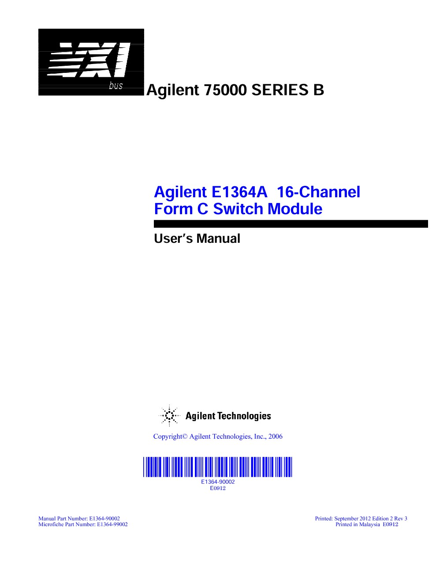 E1364A 16-Channel Form C Switch Module - User's Manual | Keysight
