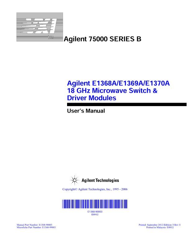 E1368A/E1369A/E1370A 18 GHz Microwave Switch & Driver Modules ...