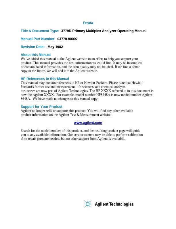 3779D Primary Multiplex Analyzer Operating Manual   Keysight