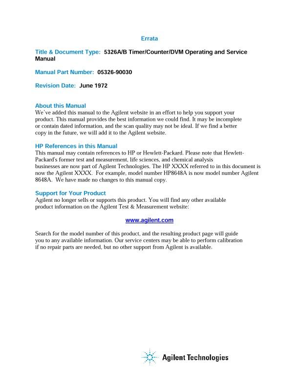 5326A/B Timer/Counter/DVM Operating and Service Manual | Keysight