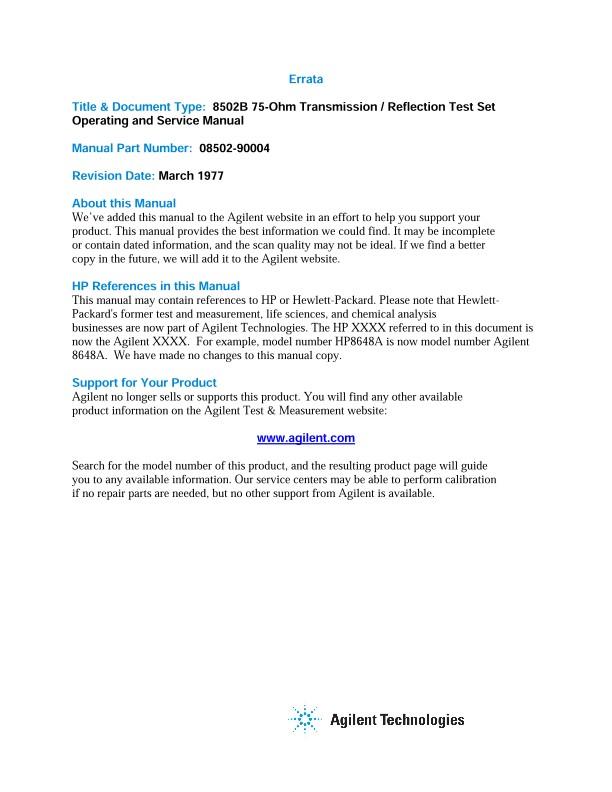 8502B 75-Ohm Transmission / Reflection Test Set Operating and ...