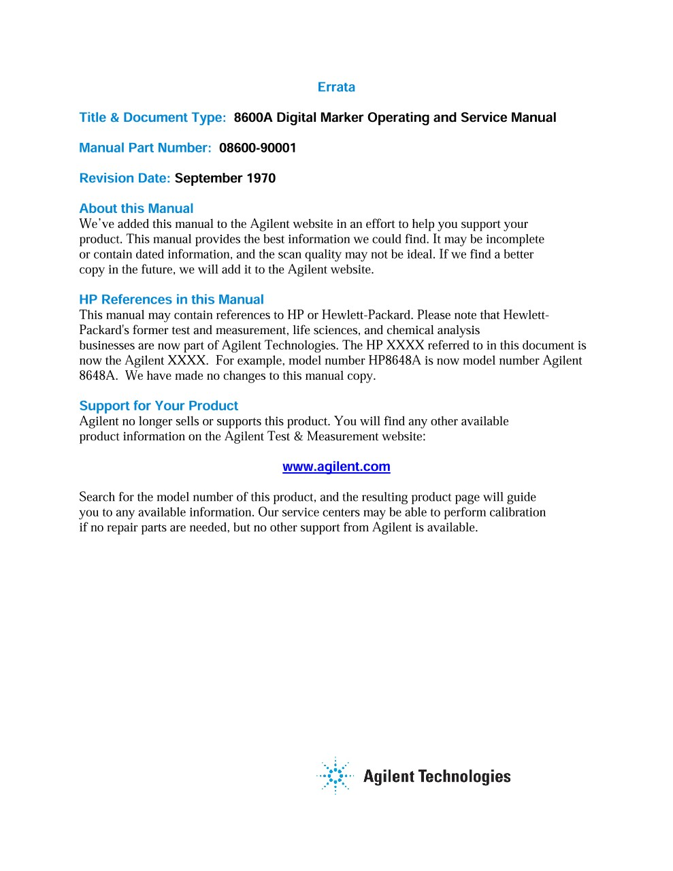 8600A Digital Marker Operating and Service Manual | Keysight