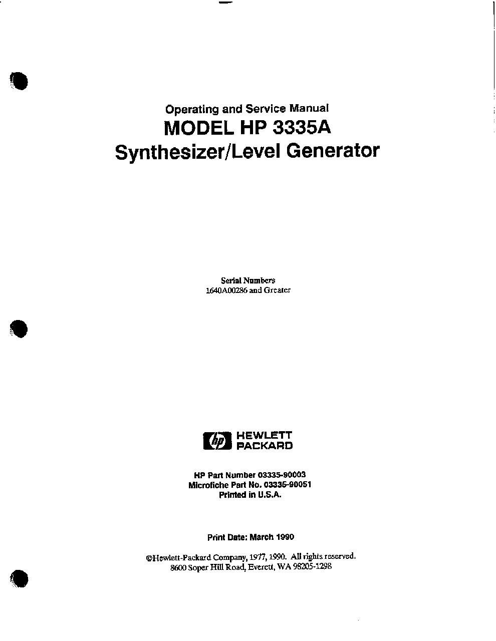 3335A Synthesizer/Level Generator Operating and Service Manual ...