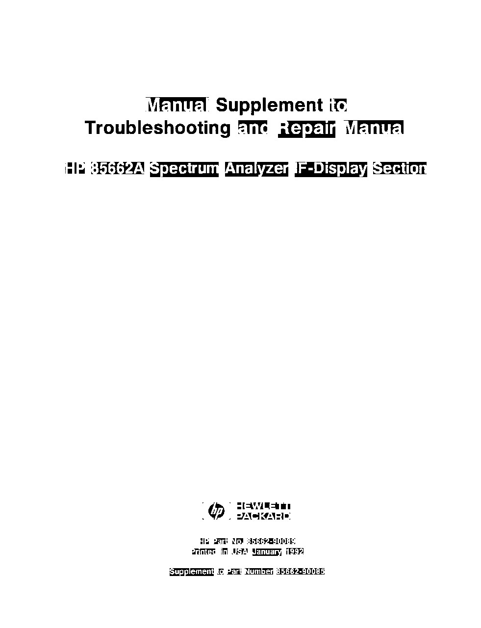 85662A Display Section Manual Supplement to Troubleshooting and ...