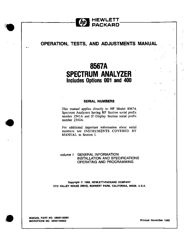 8567A Spectrum Analyzer User Guide | Keysight