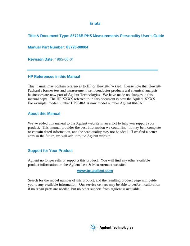 85726B PHS Measurement Personality User Guide | Keysight