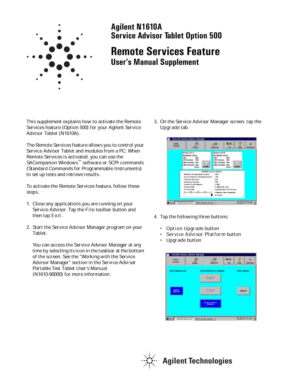N1610A Service Advisor Test Tablet Remote Services Feature User ...