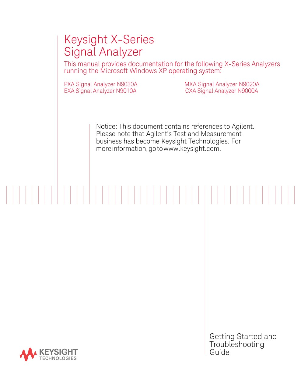 X-Series Signal Analyzer Getting Started and Troubleshooting Guide ...