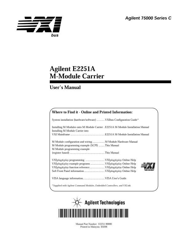Keysight E2251A M-Module Carrier User's Manual   Keysight